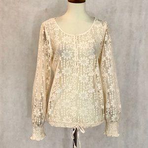 VENUS Ivory Lace Peasant Style Blouse
